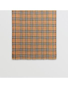 Rainbow Vintage Check Wool Silk Scarf by Burberry