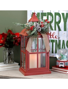 Christmas Red Floral Led Lantern by Kirkland's