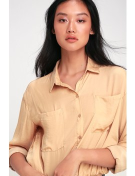 Wrigley Tan Cropped Long Sleeve Button Up Top by Lulus
