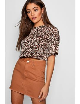Boxy Leopard Print Crop Top by Boohoo