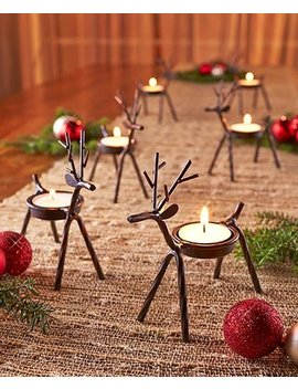 Set Of 6 Reindeer Tea Light Holders by Hi Tech