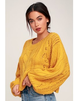 Alden Mustard Yellow Cropped Balloon Sleeve Knit Sweater by Lulu's