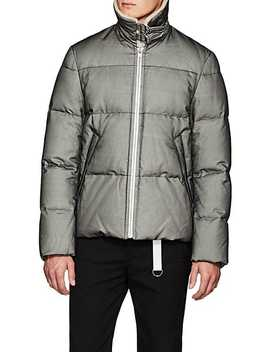 Shearling Trimmed Tulle Overlay Canvas Puffer Jacket by Helmut Lang
