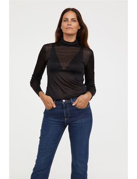 Silk Blend Polo Neck Top by H&M