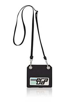 Logo Lanyard Leather Id Holder by Prada