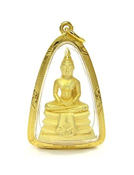 "Nicely Detailed Thai ""Sothon"" Big Buddha Amulet Pendant 18k Gold Plated by Bangkok Bazaar"