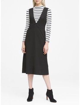 Japan Online Exclusive Deep V Neck Pinafore Midi Dress by Banana Repbulic