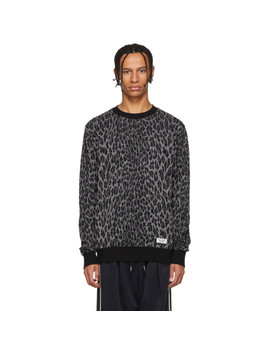 Black & Grey Leopard Jacquard Sweater by Wacko Maria