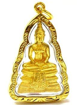 San Thai Buddha Holy Lp Sothorn Gold Mini Statue Wat Sothon Wararam Worawihan Pendent Amulet by San Jewelry