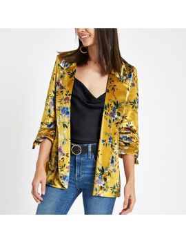 Yellow Floral Print Ruched Sleeve Blazer by River Island