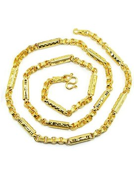 Mix Link Classic 22 K 23 K 24 K Thai Baht Gold Gp Necklace 24 Inch 45 Grams Jewelry by Arrawana77