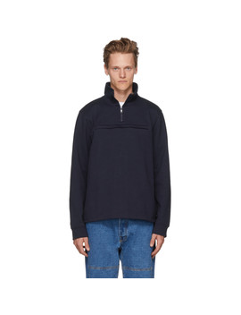 Navy Belgrade Zip Up Sweatshirt by A.P.C.