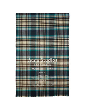 Navy & White Cassiar Check Scarf by Acne Studios