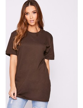 Basic Brown Oversized T Shirt by In The Style