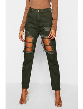 High Waist Distressed Mom Jeans by Boohoo