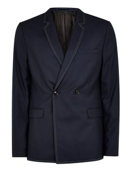Navy Double Breasted Blazer With Top Stitching by Topman