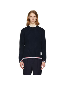 Navy Chunky Crewneck Stripe Sweater by Thom Browne