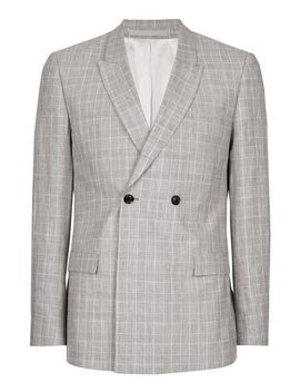 Grey Check Linen Blend Skinny Fit Suit Jacket by Topman