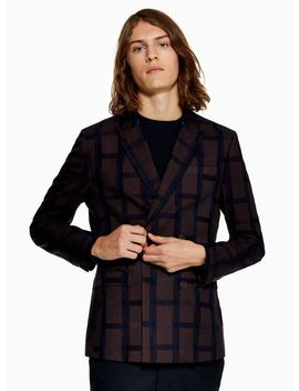 Burgundy Check Skinny Double Breasted Blazer by Topman