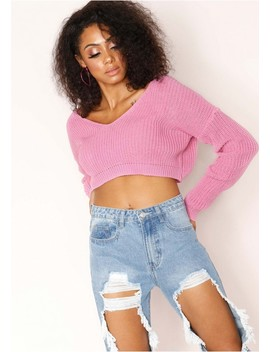 Kaye Candy Pink Knit Cropped Jumper by Missy Empire