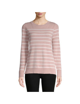 Liz Claiborne Long Sleeve Crew Neck Stripe Pullover Sweater by Liz Claiborne