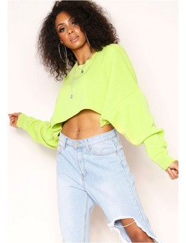 Pauline Lime Green Cropped Jumper by Missy Empire