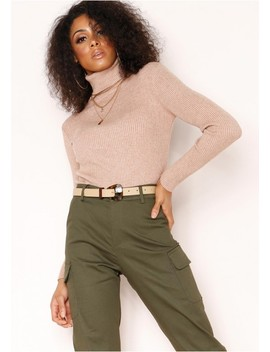 Tena Nude Knit Ribbed Roll Neck Jumper by Missy Empire