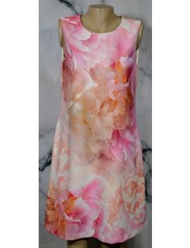 Tommy Hilfiger Pink Orange Ivory Oversize Floral Sleeveless Dress 10 Lined by Tommy Hilfiger