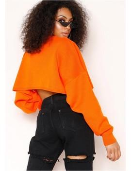 Pauline Neon Orange Cropped Jumper by Missy Empire