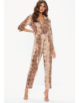 Rust Snake Print Wrap Over Jumpsuit by Missguided