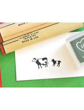 Cow And Calf  Rubber Stamp Set by Etsy