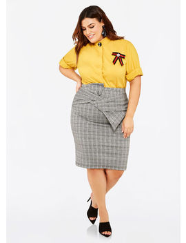 Bow Front Plaid Pencil Skirt by Ashley Stewart