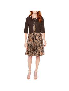 Perceptions 3/4 Sleeve Paisley Print Jacket Dress by Perceptions