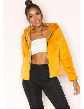 Zinnia Mustard Faux Fur Hooded Jacket by Missy Empire