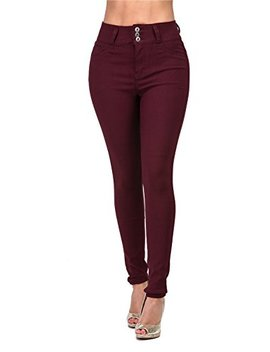 143 Fashion High Rise Waisted Women Juniors Colored Stretchy Skinny Butt Lift Jeans Plus Size by 143 Fashion