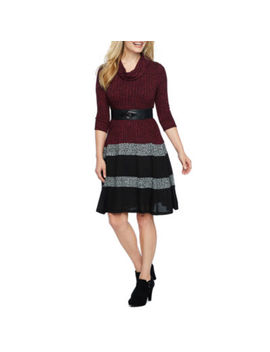 Robbie Bee 3/4 Sleeve Fit & Flare Dress Petite by Robbie Bee