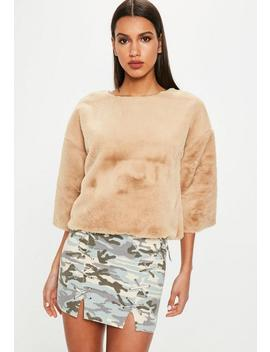 Camel Raw Edge Fur Jumper by Missguided