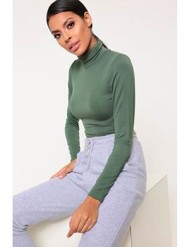 Khaki Basic Turtleneck Long Sleeve Bodysuit by I Saw It First