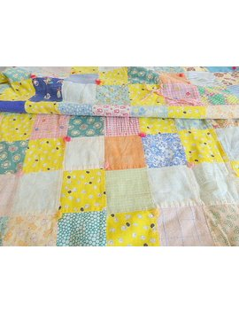 Vintage Patchwork Quilt 80 Inches X 62 Inches Blue Flannel Backing Repurpose Quilt Calico Fabric Quilt Vintage Bedding Linens Handmsde Quilt by Etsy