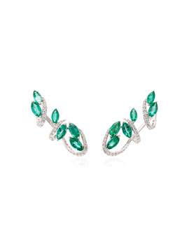M'o Exclusive 18 K White Gold, Emerald And Diamond Earrings by Hueb
