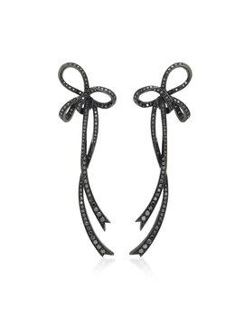 Large Bow 18 K Black Gold Diamond Earrings by Colette Jewelry
