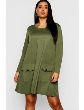 Plus Pocket Detail Shift Dress by Boohoo