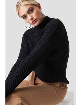 Rib Knitted High Neck Jumper Black by Na Kd
