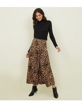 Cameo Rose Brown Leopard Print Pleated Culottes by New Look