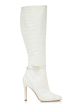 Rhonda Croc Effect Leather Knee Boots by Malone Souliers By Roy Luwolt