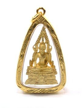 Jade Buddha Pendant Thai Amulet Gold Plated Base Designer Locket Necklaces Phra Phuttha Chinnarath Glod Skin Necklace by Tba9 Shop