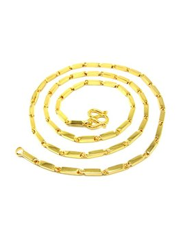 "Classic Thai Bar Link Baht Chain ""Aviator"" Style 24k Gold Plated 18"" 20"" 23"" 25"" Necklace by Bangkok Bazaar"