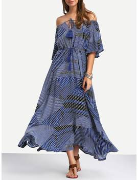 Off The Shoulder Tie Waist Ruffle Hem Maxi Dress by Shein