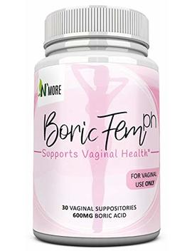 Boric Acid Vaginal Suppositories   30 Count, 600mg (Recommended Dosage)   100 Percents Pure Made In Usa by N' More