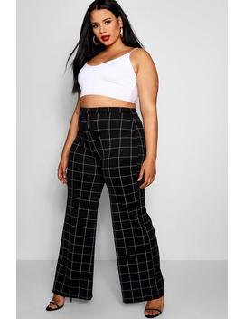 Plus Check Wide Leg Trouser by Boohoo